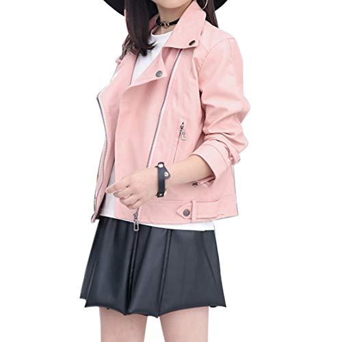 Elife Girls Fashion PU Leather Motorcycle Jacket Children's Outerwear Slim Coat Pink 3-4Y …