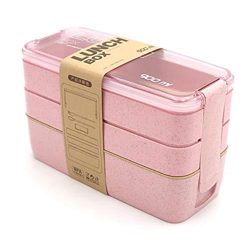 DIYOO Lunch Box Bento Box per Bambini e Adulti con 3 Scomparti Microonde a Tenuta stagna di Grano Biodegradabile Plastica Gratuita BPA Rosa