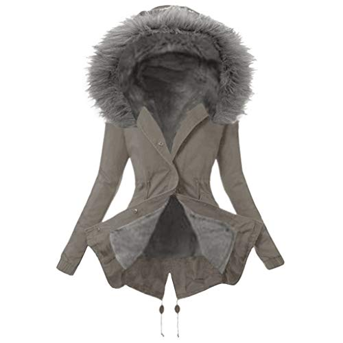 Women's Winter Warm Lining Outerwear Coat Thick Comfortable Long Sleeve Long Jacket Hooded Overcoat Gray