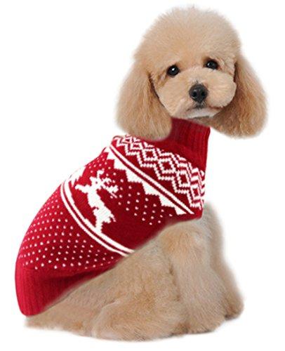Holiday Christmas Reindeer Vintage Classic Dog Sweater (10', 12', 14', 16', 20') Festive Dress (14 - Inch, Reindeer Tree)