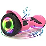 TOMOLOO Hoverboard with Bluetooth and Led Lights, Pink Hover Board for Girls and Boys, UL2272 Certified Hoover Board for Kids and Adults Self Balancing Scooter (Pink)