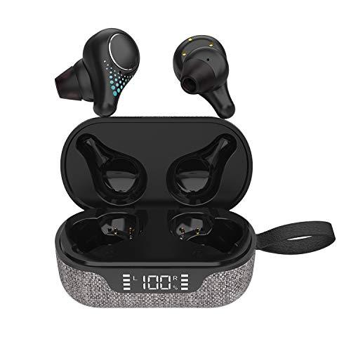 Camisin TWS 5.0 Stereo Motion Led True Two Ear Call con cámara de carga auricular negro (Cloth Art)