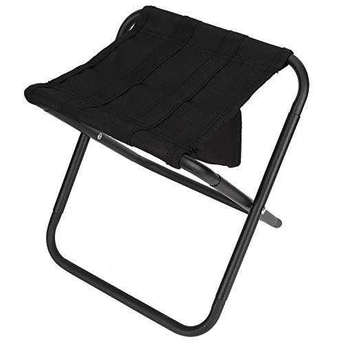 Zerodis Klappstuhl, schwarzer tragbarer Klapphocker Leichter Stuhl Wandern Reisesitze Outdoor Camping Ausrüstung