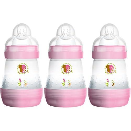 Mam FB0403G - Confezione da 3 biberon autosterilizzanti e anticoliche da 160 ml, colore: Rosa / Lilla – Istruzioni in lingua straniera