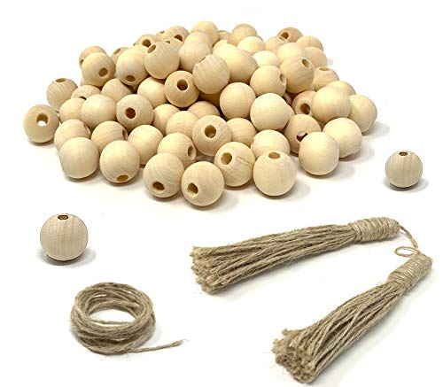 100pcs Natural Wooden Beads (20mm) with 2 Jute Tassel and Jute Rope