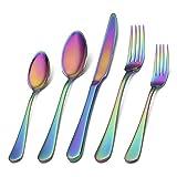 Conjunto de plata de plata de 20 piezas Conjunto de cubiertos de acero inoxidable puede acomodar a 4 personas Conjunto de cubiertos que incluyen restaurante Tenedor Color