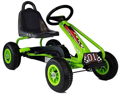 Lean Kart Full Speed Green Racer - Coche de pedales para niños (con neumáticos de aire, de 3 a 6 años), color verde