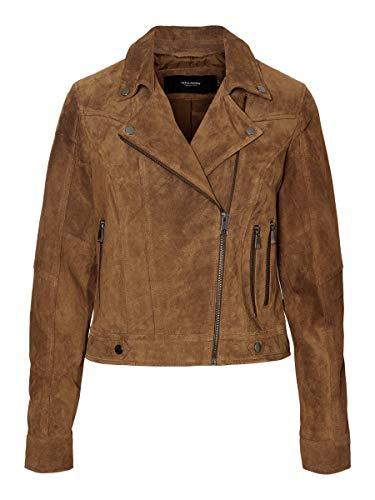 VERO MODA Damen Vmroycesalon Short Suede Jacket Noos Lederjacke, Cognac, S EU