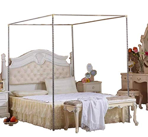 KingKara Canopy Bed Netting Stainless Steel Frame/Post Full/Queen Size
