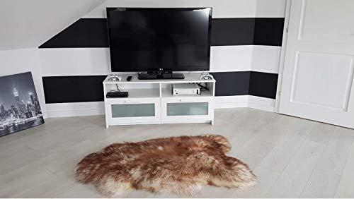 Sandaro Home Lammfell Schafsfell Fellteppich | Lammfell Teppich für Stuhl, Sofa oder Boden, Schaffell Echt , schön weich und Naturpur , Verschiedenen Grössen und Farben (Hellbraun, 90 x 110 cm)