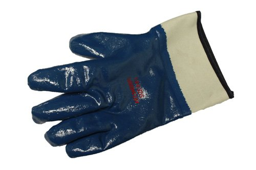 Liberty 9460SP Nitrile Heavyweight Fully Coated Glove with 2-1/2' Plasticized Safety Cuff, Chemical Resistant, Large, Blue (Pack of 12)
