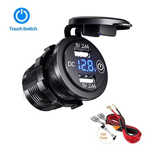Thlevel Dual USB-oplaadbus, 12 V/24 V auto-stopcontact met LED-voltmeter & schakelaar, waterdicht 4.8A snellader voor auto, boot en marine, motorfiets, vrachtwagen, SUV, UTV