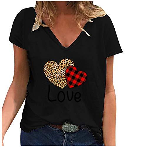 Maglietta a Maniche Corte Stampata con Scollo a V Allentato Moda Casual da Donna (3XL,3Nero)