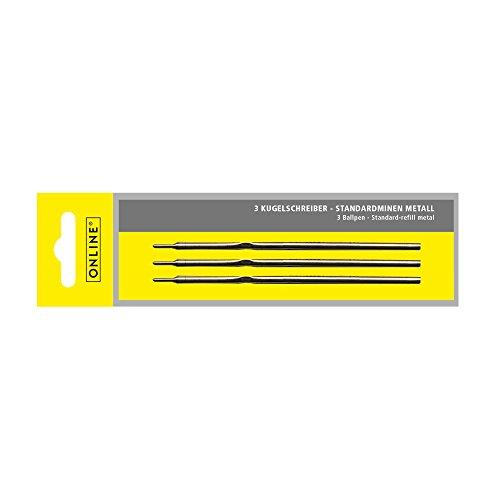 Online Schreibgeräte 40000/3 - Kugelschreiber Standard-Minen, Strichstärke M (mittel), Schriftfarbe blau , ISO 12757-2 A2, 3 Stück