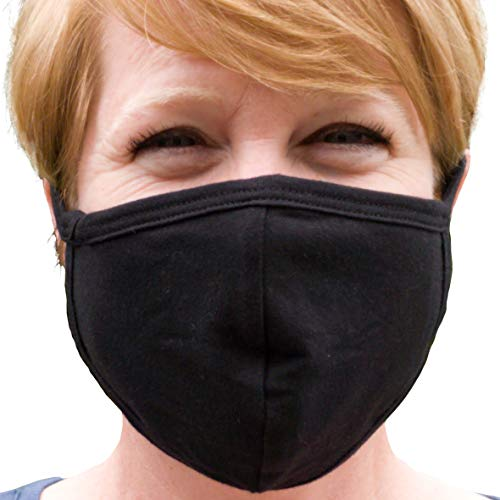 Buttonsmith Black Adult Cotton Face Mask - Two Layer Soft T-Shirt Material - Washable - Made in The USA