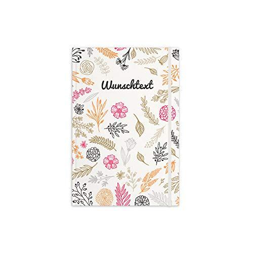 printplanet® - Notizbuch mit Name oder Text selbst gestalten - A5 Tagebuch personalisieren und bedrucken - Motiv: Floral