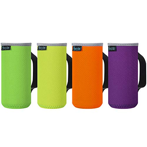 Beautyflier Rutschfeste geprägte Neopren-Isolierhülse für Flaschen, 3 mm dick, zusammenklappbar, schmal, für Grillen, Camping, Party, 340 ml (fluoreszierendes Gelb/Grün/Orange/Violett)