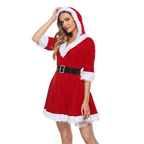 chaochao Costume Babbo Natale Costume Felpa con Cappuccio in Velluto per Donna Ragazza Natale Abiti Cosplay Abito in Velluto con Mezza Manica in Tulle per la Festa di Natale (Rosso, M)