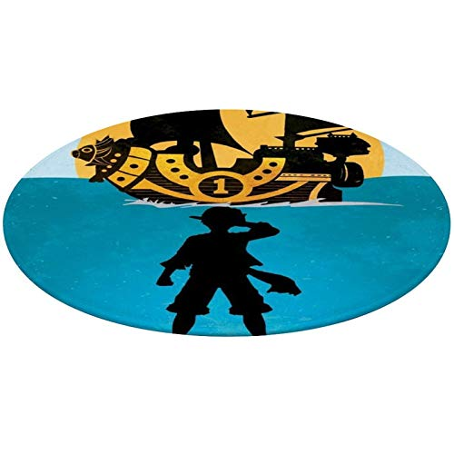 NiYoung Round Area Rug, Kitchen Rug Tub-Shower Bath Rug, Nursery Rugs, Entrance Mat - Japanese Anime One-Piece Nautical King Monkey-D-Luffy Rugs Mat Home Art for Living Room Bedroom Home, Quick Dry