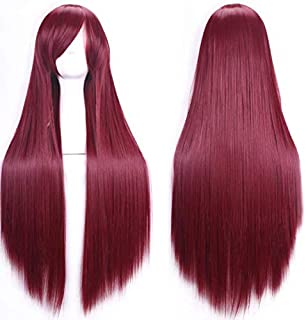 Color long straight hair cosplay wig Anime hot sale spot 81cm-wine