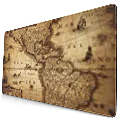 Large Gaming Mouse Pad, Non-Slip Rubber Base Computer Mouse Pads?Multi-Function Mouse Pad Gaming - Old Map of America 1632 Vintage Ancient Antique World Atlas