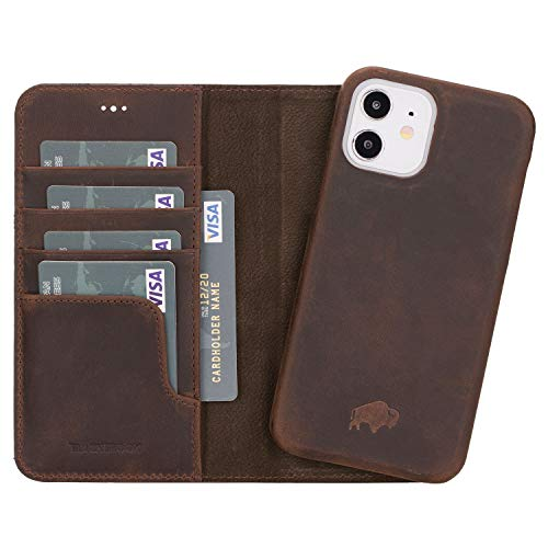 """BlackBrook by Burkley Case iPhone 12 & iPhone 12 Pro Wallet Case - Pieno Full Genuine Leather Magnetic Detachable Wallet Case for iPhone 12 & iPhone 12 Pro (6.1"""") w/Kickstand (Distressed Coffee)"""