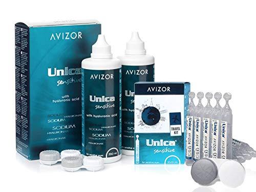 Solución Unica Sensitive 2x350 ml mas Unica Sensitive 10x10 ml