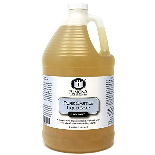 La Almona - Pure Castile Liquid Soap (Unscented), 1 Gallon