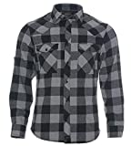 ROCK-IT Apparel® Camisa de Franela para Hombres Manga Larga Camisa de leñador Camisa de Cuadros Camisa Casual Premium Camisa de Cuadros S-5XL Hecho en Europa Negro/Gris 4XL