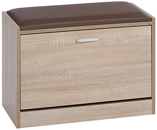 ts-ideen Schuhschrank Schuhbank Schuhkipper Hocker Flur Diele Holz Eiche Sonoma mit Kunstleder Sitzpolster in Braun