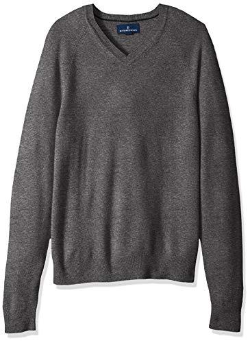 Amazon Brand - Buttoned Down Men's 100% Premium Cashmere V-Neck Sweater, Dark Grey, Large