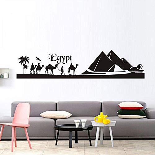 Luzhenyi Egypt Pyramid Skyline Camel Sand Wall Sticker Diy Art Decal Mural Landscape Vinyl Wall Stickers Adhesive Home Decor Living Room 177X40Cm