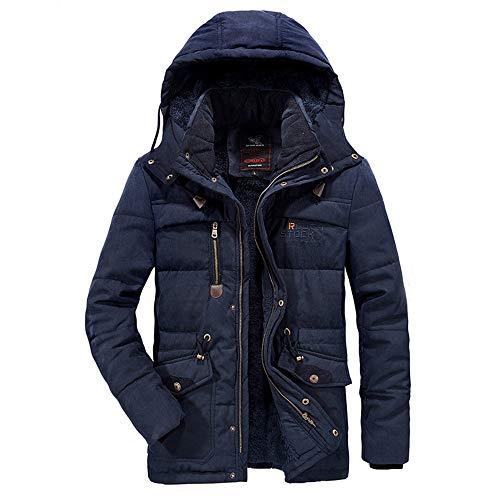 Dasongff Herenwinterjas, donsjas voor heren, verdikte donsjack, grote maat, wollen mantel met capuchon, outdoor, winddicht, trenchcoat zakmantel gewatteerde jas