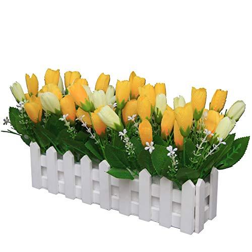 Flikool Tulpen Künstliche Blumen mit Holzzaun Gefälschte Künstliche Pflanzen im Topf Unechte Blumen Bonsai Kunstblumen Seide Tulpe Topfpflanzen Kunstpflanzen Ornamente Deko für Balkon - Gelb