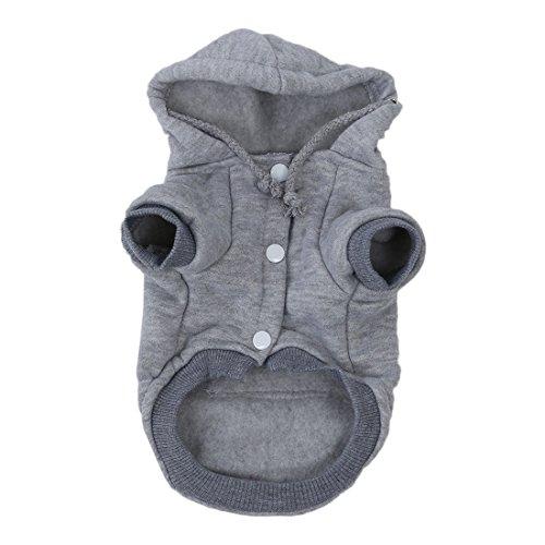 SODIAL(R) Strickwaren Kleidung Fuer Haustier Katzen/Hunde-Bekleidung Winter Warme Strickhundejacke mit Kapuze Weihnachtswelpen Mantel Kleidung (Grau, XS)
