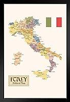 イタリア地域の政治地図 州 旗 ビンテージスタイル ブラック 木製 額入りアートポスター 14x20
