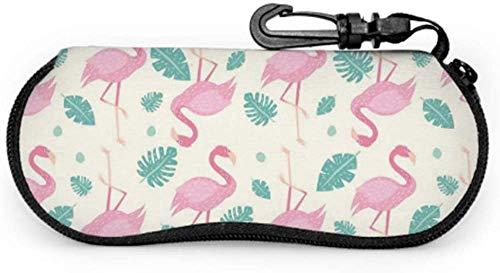 Tropical Flamingo Animal Pink Color Sunglass Cases For Women Sunglasses Case Light Portable Neoprene Zipper Soft Case Soft Zippered Eyeglass Case