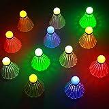 Bádminton LED, Sportneer 12 Piezas LED de Bádminton, Iluminación de Pelotas de Bádminton, Durabilidad Volante Colorido de Iluminación para Actividades Deportivas al Aire Libre e Interiores