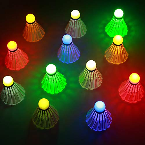 Sportneer LED Badminton 12 Stücke, LED Badminton Federbälle Beleuchtung Birdies Federball Leuchtend im Dunkeln Badminton Birdie für Indoor/Outdoor Sportaktivitäten