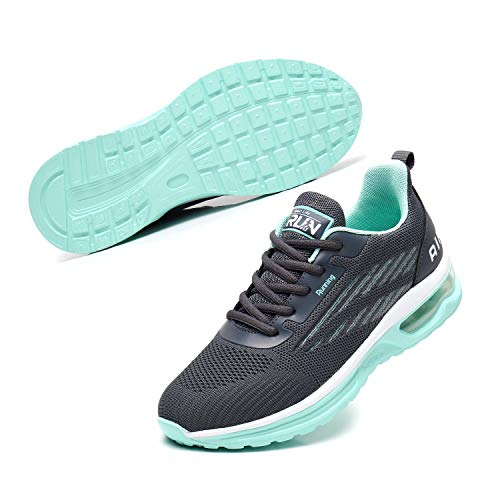 Axcone Womens Walking Shoes for Athletic Tennis Running Gym Casual Breathable Workout Sport Nurse Fitness Jogging Lightweight Air Cushion Stylish Fashion Sneakers GreyGreen40