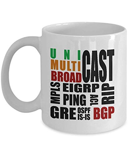 TEPEED Network Engineer Mug Funny Gift Router Technology Name Mpls Bgp Ospf Eigrp Acl is-is Rip Unicast Broadcast Multicast Gift for Network Engineer