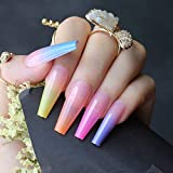 Vaveah 24 Pcs Press on Nails Coffin for Women, Extra Long Fake Nails Glue on Nails, False Nails with Glue (Rainbow)