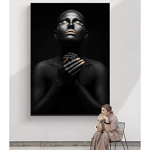 wZUN Pintura en Lienzo Mujeres Negras africanas imágenes de Arte de Pared Negro Dorado para la decoración de la Sala de Estar Carteles e Impresiones Lienzo decoración Pinturas 60x90 Sin Marco