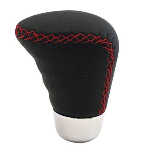 ZentimeX Schaltknauf LEDER ECHTLEDER Lederfarbe: schwarz Nahtfarbe: rot