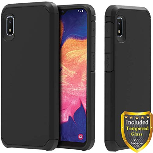 ATUS Galaxy A10e Case, Full Cover Tempered Glass Screen Protector, Hybrid Dual Layer Protective TPU Case for Samsung Galaxy A10e (Black/Black)