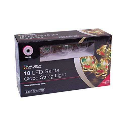 Christmas Workshop 10 LED Père Noël en Clair Lampes de boule de boules de Noël 5 cm, plastique, Transparent,