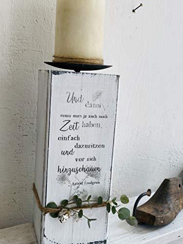 Holz Kerzenblock massiv Astrid Lindgren