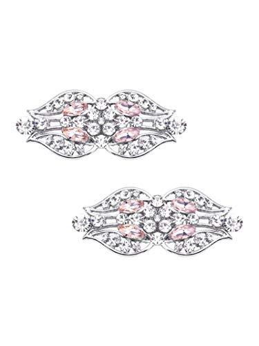 Elegantpark GK Tulpe Blumen Design Strass Flasche Pumps Hochzeit Party Brautschuhe Abendschuhe Schuhe Decoration Accessories Schuhclips 2 Stück Blush Pink