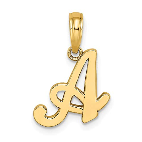 Abalorio de letra A de oro de 14 quilates, muy pulido