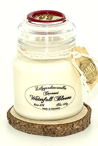 Lilygardencandles Coconut & Waterfall Jar Candle - 37+ Hour Burn Time - 100% Soy Wax - Summer Fragrance